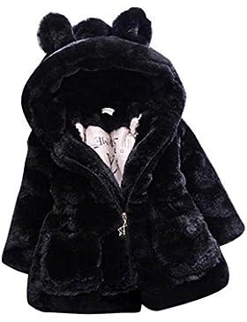 LLQ Niñas Pile de Abrigo Encapuchado Invierno Chaqueta Pelo Ropa Mangas Largas Chica Abrigo Pelo Invierno (Negro?
