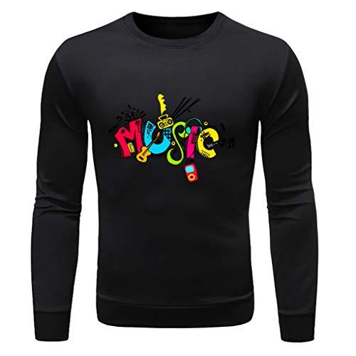 TWISFER Herren Slim Fit Langarm Rundhals Pullover Brief Drucken Longsleeve T-Shirt Sweatshirt Tops -