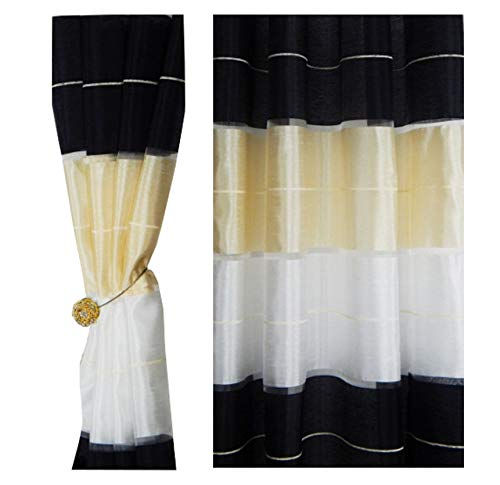 Tenda a occhiello semitrasparente sciarpa a occhiello sciarpa sciarpa decorativa per finestra tenda decorativi a colori strisce balcone di 2 tende con occhielli 145x245 cm agv v15