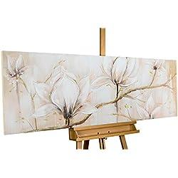 KunstLoft® cuadro acrílico 'Competition of Glory' 150x50cm | Original pintura XXL pintado a mano en lienzo | Flores blancas árbol rama decoración | Mural acrílico de arte moderno con marco