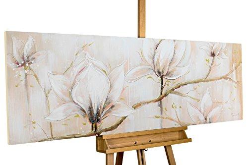 Dipinto in acrilico KunstLoft® 'Concorso per la gloria' in 150x50cm | Tele originali manufatte XXL | Fiori boccioli bianco albero ramo | Quadro da parete dipinto in acrilico arte moderna in un pezzo