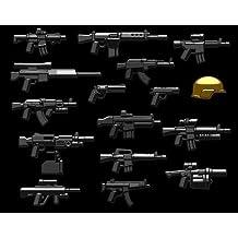 Brickarms Moderna Combat Assault Pack Armas SET para Figuras Lego 17 piezas