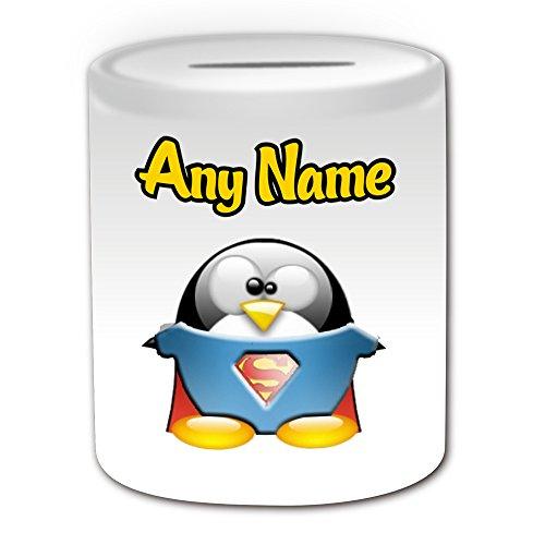 Personalisiertes Geschenk-Superman Spardose (Pinguin Film Charakter Design Thema, weiß)-Jeder Name/Nachricht auf Ihre Einzigartiges-Kostüm Film Superheld Hero noch Clark Kent