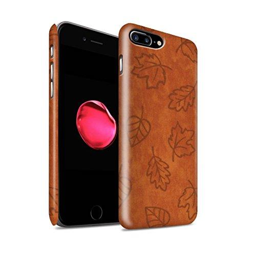STUFF4 Matte Snap-On Hülle / Case für Apple iPhone 8 Plus / Orange Muster / Blatt Muster/Textil Effekt Kollektion Orange