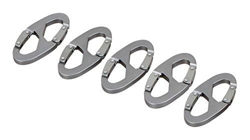 ZENDY mousqueton en aluminium déclic pince crochet porte-clés en forme de S pour la maison, RV, camping, pêche, randonnée, voyager outils de plein air (Pack5)