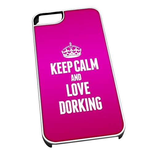 Bianco cover per iPhone 5/5S 0212Pink Keep Calm and Love Dorking
