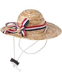 Xuniu Sombrero de Paja Divertido del Animal doméstico, Casquillo de los Gatos del Estilo Hawaii Perros para el cumpleaños, la Navidad y el 15.5cm de Halloween