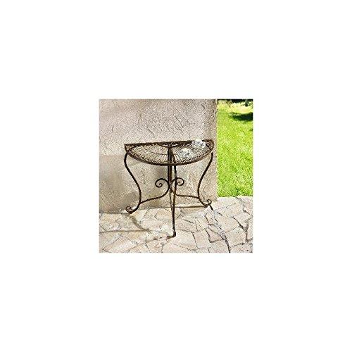 """Konsole """"Provencal"""" dunkelbraun lackiertes Metall in moderner Rostoptik, aufwändig gearbeitet mit Rankenmuster 80 x 42 x 76 cm, Lieferung erfolgt unmontiert, inkl. Montagematerial, einfache Selbstmontage (Lackierte Tische Möbel)"""