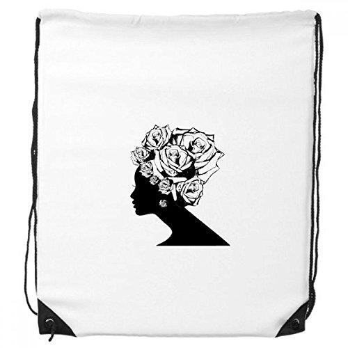 DIYthinker Frau Rose Schwarz Weiß Blume Pflanze Rucksack-Shopping Sport Taschen Geschenk