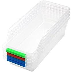 Lenhart 4unidades plástico frutas lado bandeja de almacenamiento organizador con asa color al azar