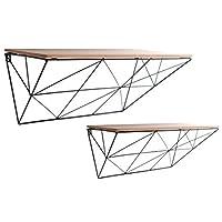 Carousel Home Set Of 2 Black Single Coated Metal Wall Mounting Display Shelves 50cm x 32cm x 16cm
