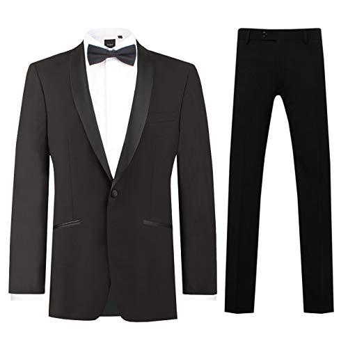 Dobell Herren Schwarzer Smoking-Anzug zweiteilig Schalkragen (88 Jackett mit 88 Hosen) -