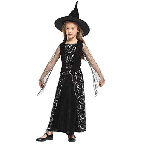 DONGBALA Halloween Hexe Kostüm, für Mädchen Hexe Fee Kleid Kinder Halloween Phantasie Cosplay Party Kostüm mit Hut Geeignet für Höhe 110-140cm (schwarz),XL (Verrückte Weihnachten Kostüm Idee)