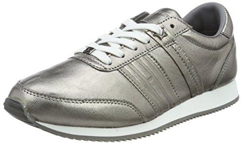 Tommy Hilfiger Women's P1285hoenix 8c3 Low-Top Sneakers, Silver (Dark Silver), 4 UK