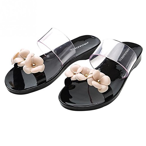 LEPAKSHI black, 7 : 2017 Woman sandals Bohemia flower summer sandal shoes pinch the new clip toe flowers flat han edition beach shoes