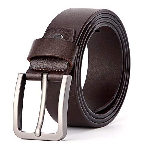 en Ledergürtel für Männer Dornschließe Antiker Casual Gürtel in Braun 38mm Breit ()