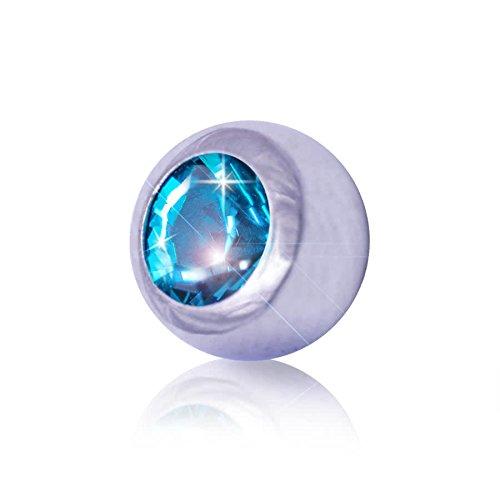 Piercing pallina con gioiello in acciaio 5mm blue banana body piercing (zircone)