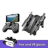 KYOKIM Faltbare 4-Achsen-Drohne Fernbedienung Und Mobile APP-Steuerung 5-Megapixel-Kamera Kostenlos Senden VR-Brille,Black-3batteries