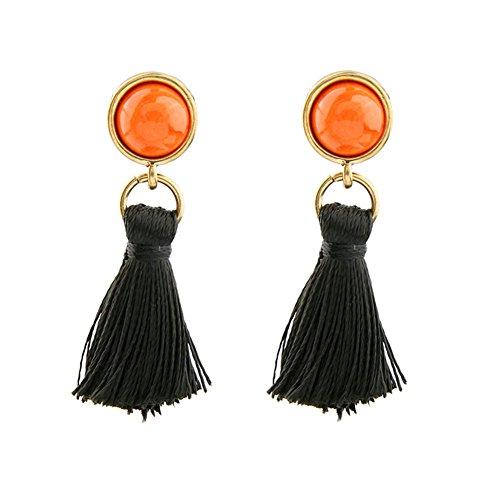 Leisial Damen Legierung Ohrringe böhmischen Geometrischen Edelstein Garn Quaste Ohrringe Party Geschenk Size 4.6 * 1.2cm (Orange) -