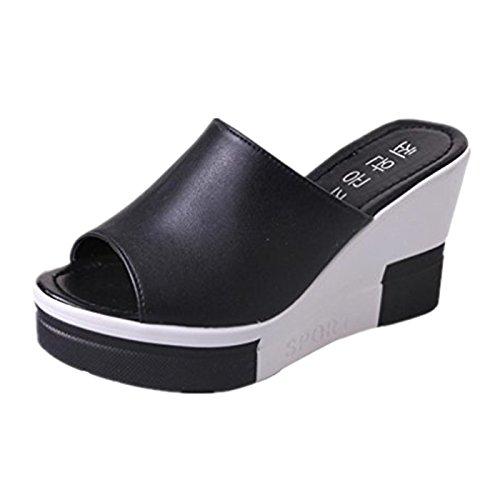 Beautyjourney sandali donna con zeppa estive elegant scarpe donna estive eleganti scarpe donna tacco medio sandali gioiello -donna estate sandali scarpe romane infradito (36, nero)