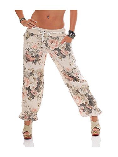 ZARMEXX Signore bloomers harem pants pantaloni estivi Harem spiaggia pantaloni di cotone Big Rose Beige