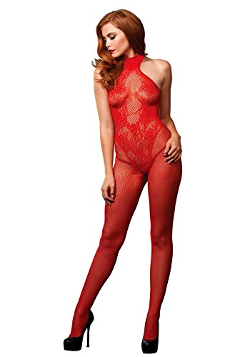 Leg Avenue 89186 - Nahtloser Netz-Bodystocking Dessous, Einheitsgröße, rot, Dessous Damen Reizwäsche - Nahtloser Bodystocking