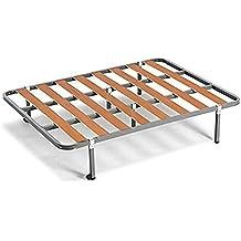 Somier lama 100 + 6 patas cuadradas tubo de acero 30 x 30 mm, láminas de chopo, con refuerzo central (90x190)