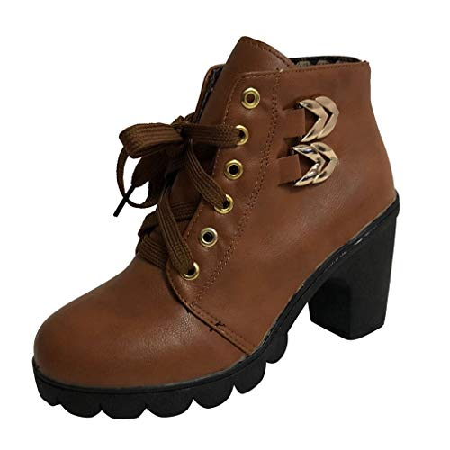 Stivali Tacco Quadrato da Donna in Puro Colore Vendita Stivali Scamosciati Stringati Stivali retrò Scarpe con Punta Tonda
