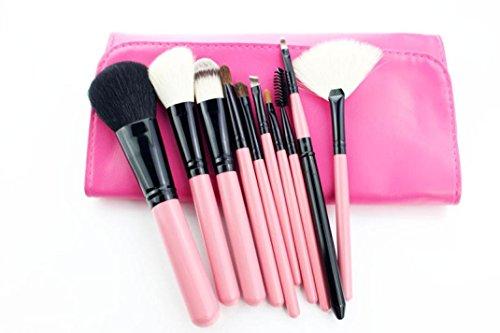 MuSheng(TM) 10pcs brosse brosse de haut grade ensembles cosmétiques maquillage de laine (Rose)