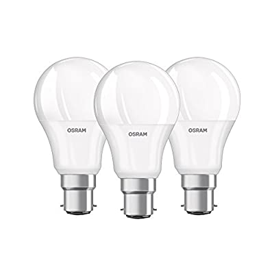 OSRAM Classic A LED Frosted Bulb Shape Lamp, Warm White, E27, 2700 k, 9.50 W, 3-Piece