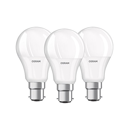 OSRAM LED BASE CLASSIC A / LED lamp, classic bulb shape, with bayonet base: B22d, 9.50 W, 220...240 V, 60 W replacement, frosted, 2700 K, 3pack