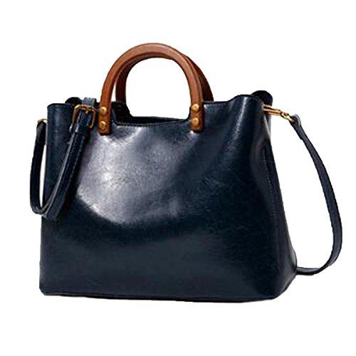 Preisvergleich Produktbild Damen-Einkaufstasche Echtes Leder Handtasche Handtasche Schultertasche,Blue-M