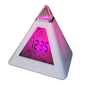 Digiflex 7 LED Pyramid Colour Changing Digital Alarm Clock