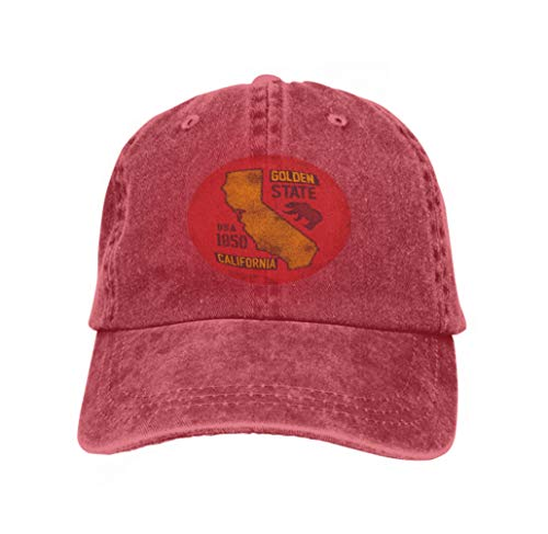 Xunulyn Unisex Women Cotton Adjustable Baseball Caps Low Profile Washed Dad Hats California Grizzly Bear Graphics Design Print red