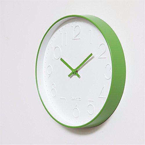 Y-aime.orologio da parete orologio soggiorno moderno semplice moda muto creativo camera da letto al quarzo tondo orologio da parete (12 pollici),c