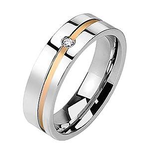 Paula & Fritz® Damen-Ring Verlobungs-Ring Freundschaftsring Herrenring Partnerring Edelstahl Chirurgenstahl 316L Linie roségold einzelner Zirkonia Ringgrößen 47 (15) – 69 (22)