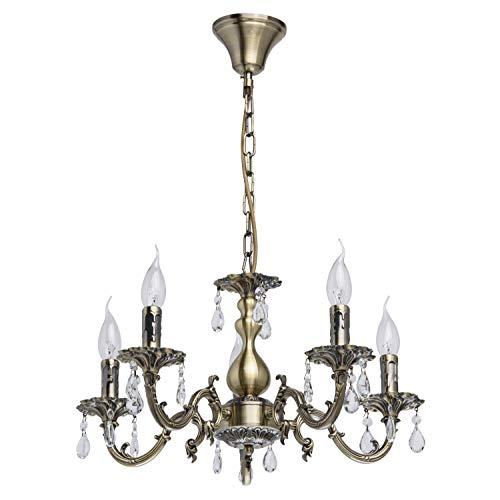 Eleganter Kronleuchter 5-flammig Kerzen antik messingfarbiges Metall Kristall klar exkl.5 * 60W E14 2700К