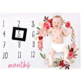 YeahiBaby Photography Background Blanket Newborns Background Monthly Milestone (Black Frame)