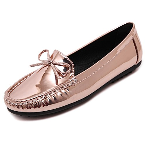 Fortuning's JDS Soft-soled bowknot métalliques Casual plat Chaussures Bean Rose