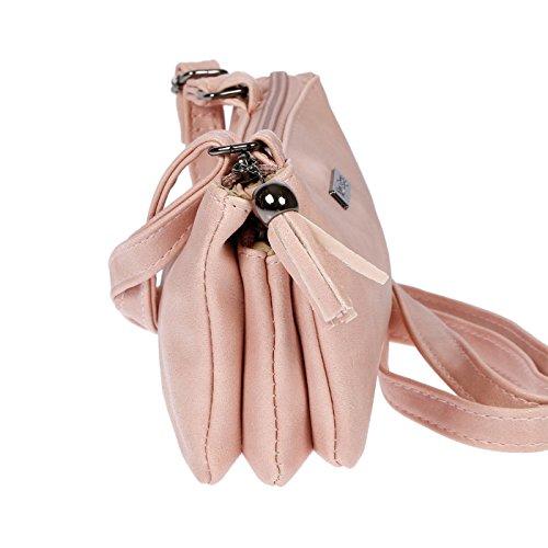 Borsa A Tracolla Piccola Da Donna 18x10x4 Cm Grigio Antico Rosa