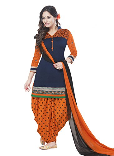 Ishin Women's Synthetic Blue & Orange Bollywood Printed Unstitched Salwar Suit Dress Material (Anarkali/Patiyala) With Dupatta  available at amazon for Rs.299