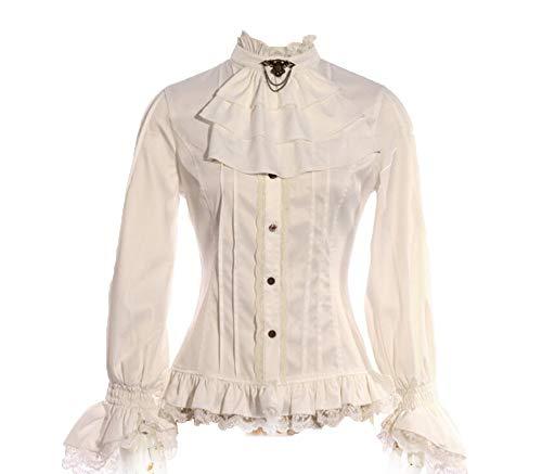 Victorian Mode Damen Elegante Hemden, Steampunk Ladies Mittelalter Lange Ärmel Shirts, Gothic Teen Mädchen Cosplay Langarmshirt Weiß, 5 Größe - Piraten Mädchen Teen Kostüm