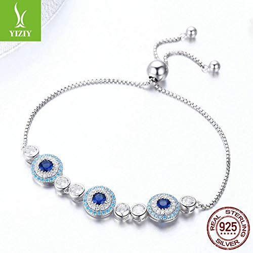 KFYU S925 Silber Damen Armband Armband Schlumpf Stretch Blue Eyes Türkei Armband Seil SCB088 (Schlümpfe Schmuck)