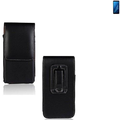 K-S-Trade Für Samsung Galaxy A8 (2018) Duos Gürtel Tasche Gürteltasche Schutzhülle Handy Tasche Schutz Hülle Handytasche Smartphone Case Seitentasche Vertikaltasche Etui Belt Bag schwarz für