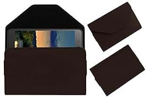 Acm Premium Pouch Case For Micromax Canvas Juice 3 Q392 Flip Flap Cover Holder Brown
