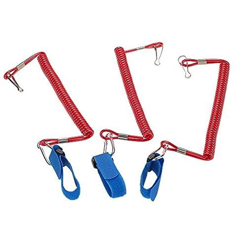 Docooler 3pcs Coiled Paddle Leash Elastic Kayak Canoe Safety Rod Leash Kayak Accessory Stretch to 195cm