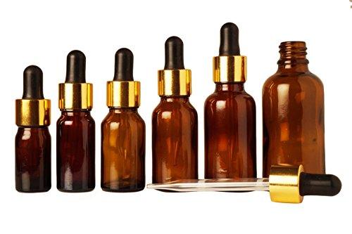 6 pcs huiles d'aromathérapie rechargeables baissent bouteilles verre ambré compte-gouttes bouteille vide de gros boston bouteilles de sérum de pipettes ronde 10 ml