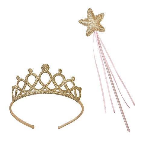 Tiara Kostüm Tinkerbell - Talking Tables rosa und gold Zauberstab und Diadem für kleine Prinzessinnen