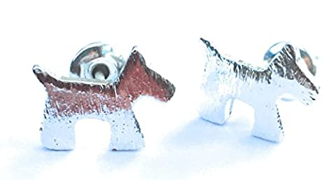 Silver plated terrier dog stud earrings in gift box