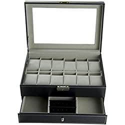 Feibrand PU Watch Box for Watches/Bracelets (12 Slots) /Cufflinks Black